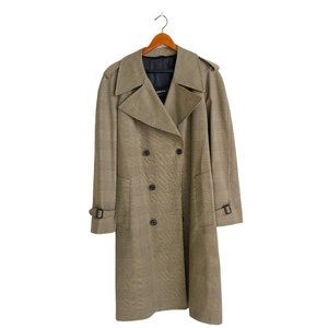 LONDON FOG Plaid Double Breasted Trench Coat